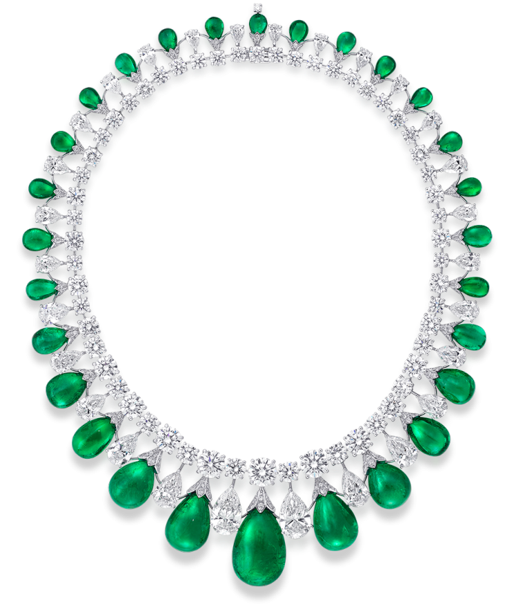 Graff-Cabochon-Emerald-and-Diamond-Necklace