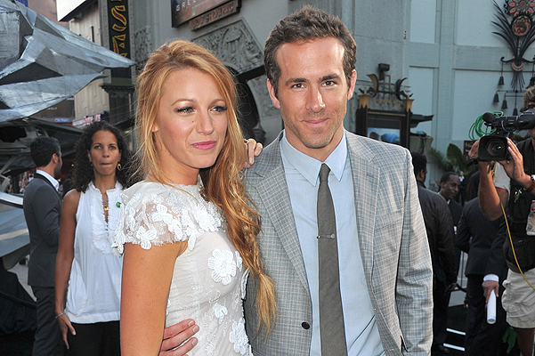 "HOLLYWOOD, CA - JUNE 15: Actors Blake Lively (L) and Ryan Reynolds arrive at the premiere of Warner Bros. Pictures' ""Green Lantern"" held at Grauman's Chinese Theatre on June 15, 2011 in Hollywood, California. (Photo by Alberto E. Rodriguez/Getty Images)"